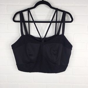 Torrid Crop Top Black Lace Tank Zip Front Strappy
